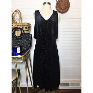 NWT Halston Velvet Black Midi Dress